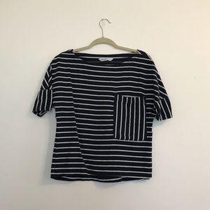 Zara Basic Denim Striped Pocket Top